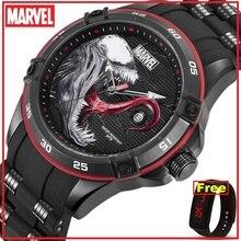Reloj de cuarzo VENOM Los vengadores de Marvel original autorizado oficial de Disney, resistente al agua, para hombre, correa de silicona, m 9116 de lujo