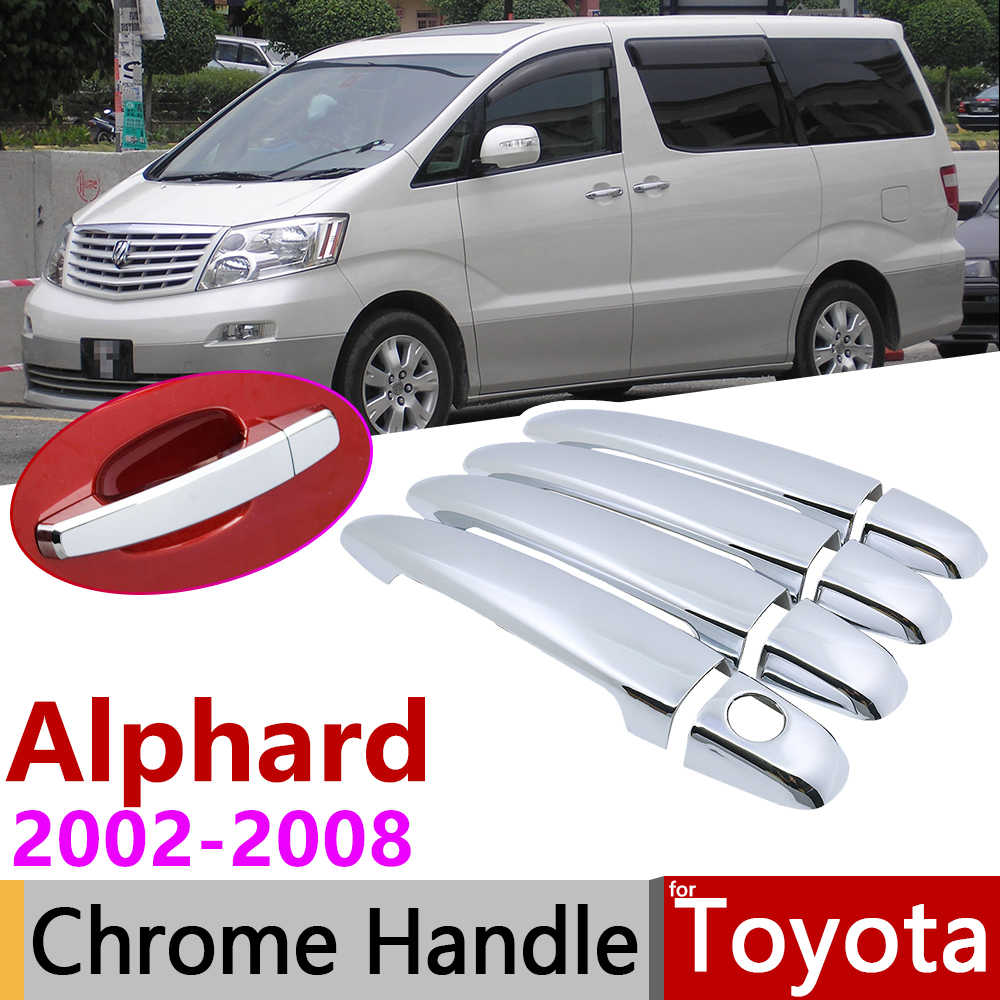 Toyota Alphard için AH10 2002 ~ 2008 krom kapı kulp kılıfı araba aksesuarları çıkartmalar Trim seti 4 kapı 2003 2004 2005 2006 2007