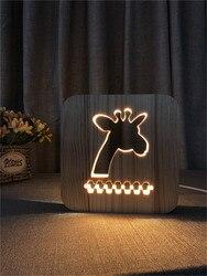 Żyrafa drewniane lampy światła dzieci sypialnia dekoracji ciepły biały LED USB lampka nocna dla dzieci prezent na dzień obsługuje spadek wysyłka|Oświetlenie nocne|   -