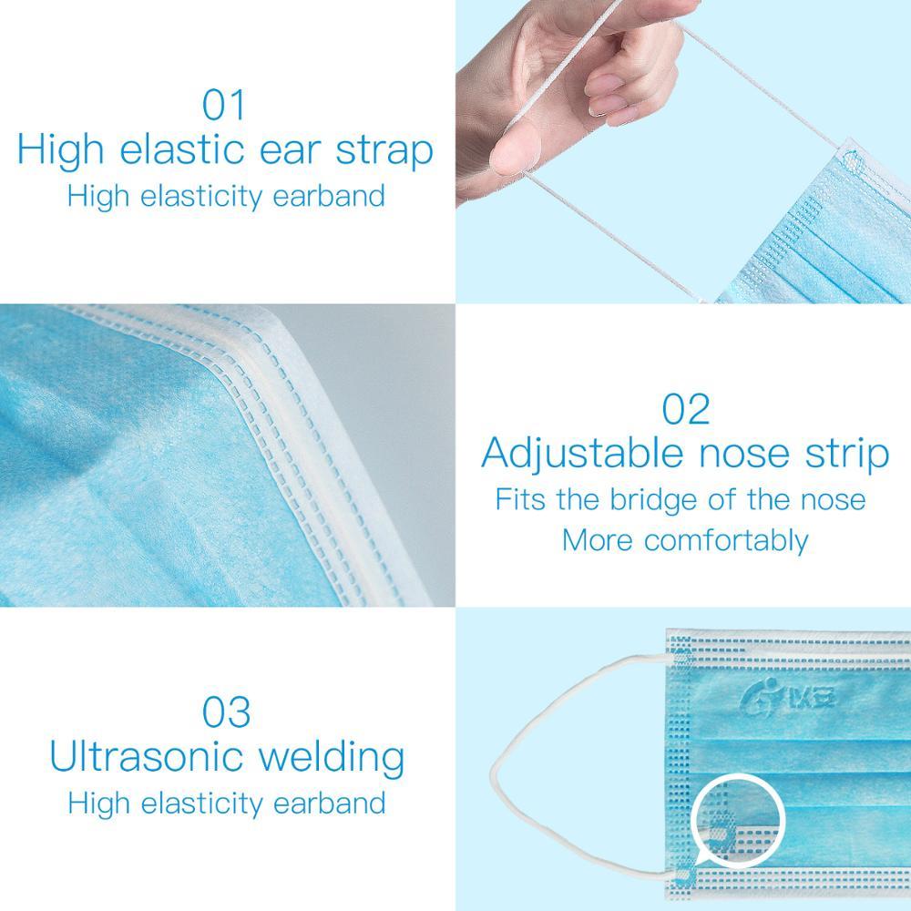 EANNE 10/50 pièces Mouch noir masques Anti gaz poussière pour adulte soins du visage filtres jetables masque de protection avec boucles d'oreilles 3