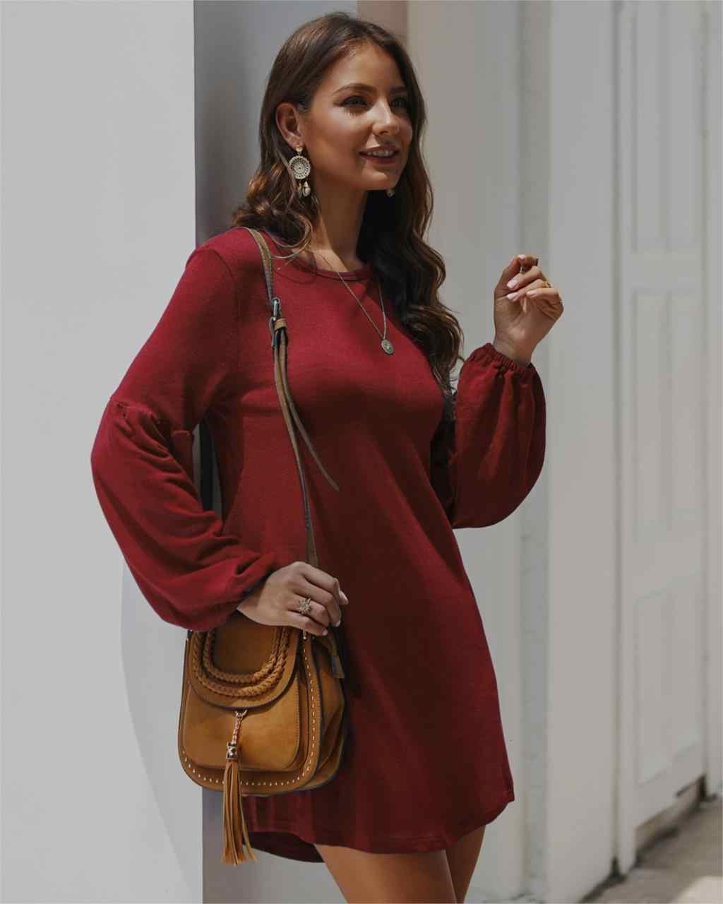 Inverno outono casual envoltório mini vestido frauen strickpullover elegante sexy feminino vintage camiseta com lanterna manga