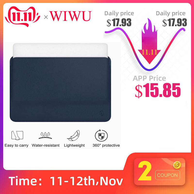WiWU Laptop Sleeve for MacBook Air 13 inch Water-resistant PU Leather Case Pro 15 Inch Ultra-slim Bag