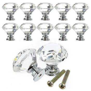 цена на 16pcs Glass Knob Drawer Door Crystal Diamond Handle Pull Dia 30mm for Wardrobes Cabinets Cupboards Furniture