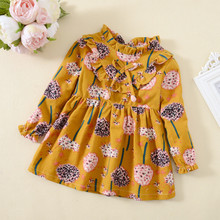 kids dresses for girls long sleeve autumn baby girl clothes elsa dress  children's dandelion pattern floral vestido infantil недорого
