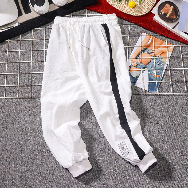 2019 New Style Casual Pants Men's Trend Athletic Pants Students Stripes Beam Leg Harem Pants Child Trousers Fashion