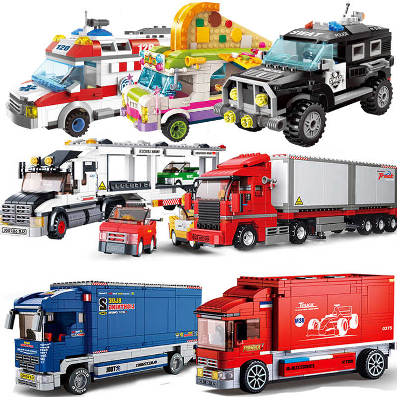 QWZ City Legoes Technic Ambulance Car Figure Blocks Building DIY Educational Friends Bricks Toys For Children Gifts
