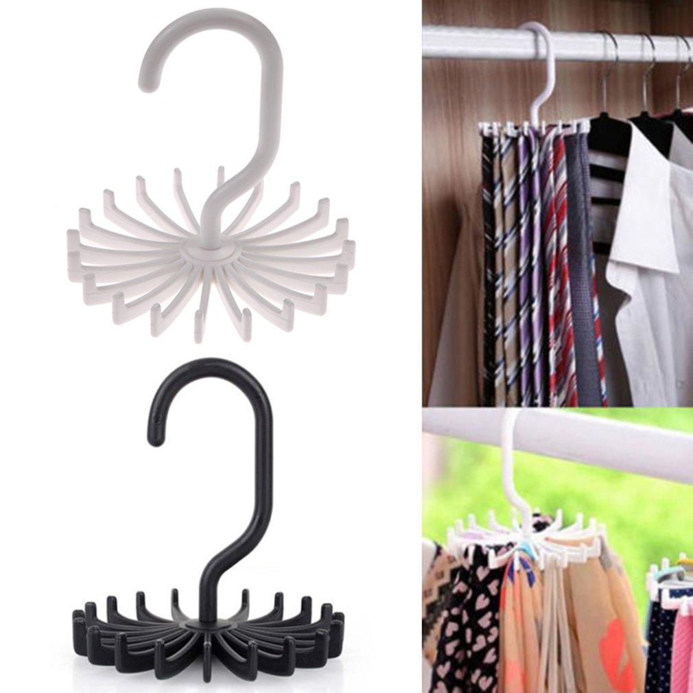 360 Degree Rotatable Ties Clothing Hanger Rack 20 Claw Scarf Hanger Organizer Twirling Scarf Belt Tie Hook Holder Ties
