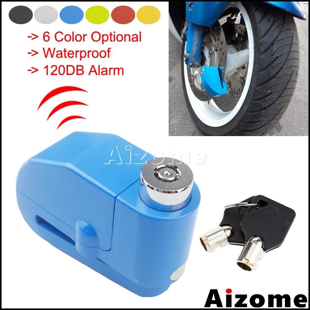 6 Color Motorcycle 120DB Alarm Brake Disc Lock Motorbike Dirt Bike 6mm Brake Disc Lock Security Protection Anti Theft Lock