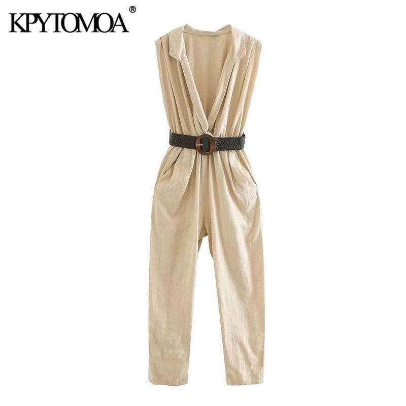 KPYTOMOA Women 2020 Chic Fashion Office Wear With Belt Jumpsuits Vintage V Neck Side Pockets Elastic Waist Female Playsuits