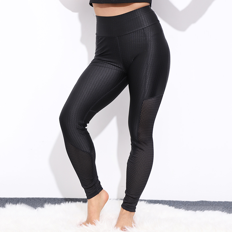 CHRLEISURE Mesh Lattice Leggings Women Sexy Fitness Workout Activewear High Waist Pants Breathable Patchwork  Push Up  Leggings