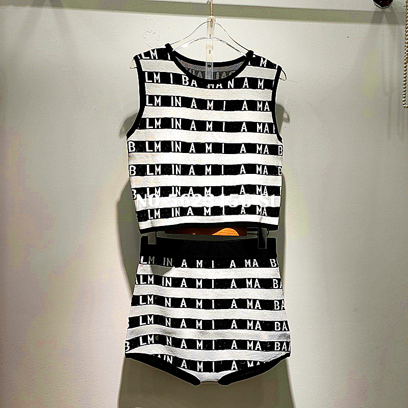 High Street  Women Two Piece Outfits Striped Letter Print Sleeveless Pullover Tops + Shorts  2 Piece Set Women 2020 Summer