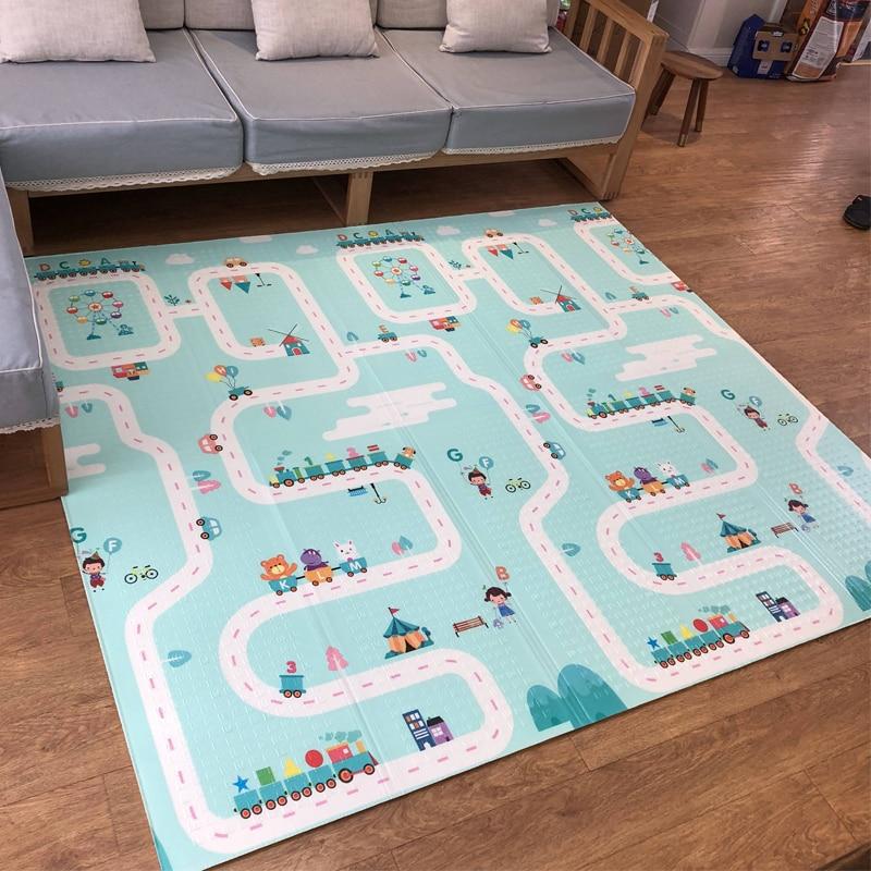 180X200CM Baby Mat 1CM Thickness Cartoon XPE Kid Play Mat Foldable Anti skid Carpet Children Game