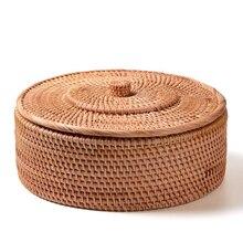 Cesta tejida a mano de mimbre, cajas de almacenamiento de mimbre retro sencilla con tapas, conjunto de té y joyería, artículos para el hogar
