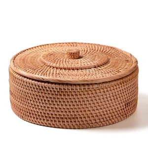 Image 1 - Hand woven Basket Primary Colours Simple retro Rattan Storage Boxes with lids Jewelry Tea set Storage Boxes Household items