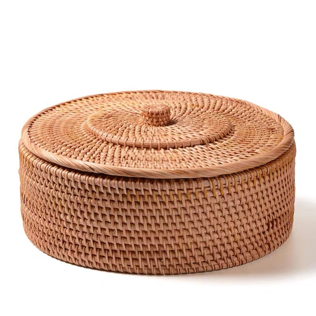 Hand woven Basket Primary Colours Simple retro Rattan Storage Boxes with lids Jewelry Tea set Storage Boxes Household items