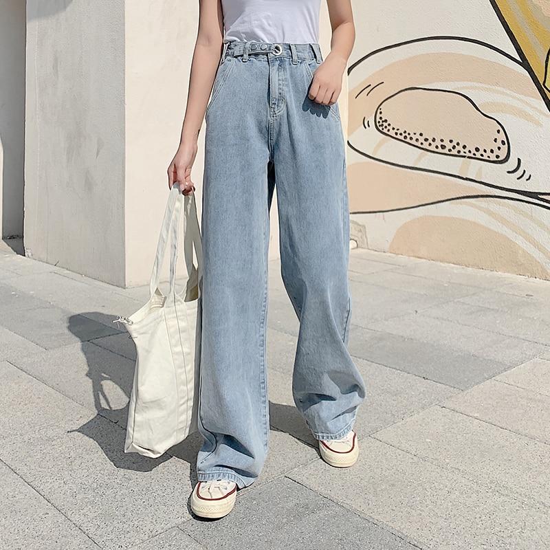 Fashion Women High Waist Jeans Elastic High Waist Wide Leg Denim Pants Ripped Jeans For Women Loose Trousers Blue Straight Pants