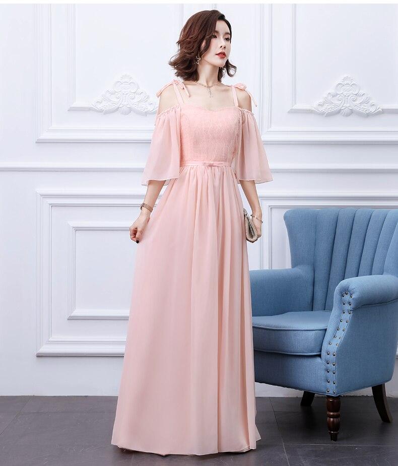 Chiffon Long Dress For Wedding Party For Woman Pink Bridesmaid Dress Vestido Largo Sirena Sleeveless A-Line Sexy Prom Dress Club
