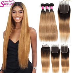 Honey Blonde Bundles With Closure 1B/27 Ombre Bundles With Closure Remy Brazilian Straight Ombre Human Hair Bundles With Closure