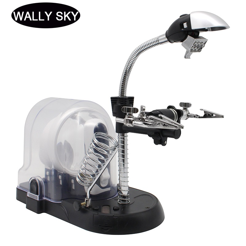 Auiliary Clip Desk Lamp Magnifier LED Desktop Handheld Magnifying Glass with 3PCS Interchangeable Lens and Soldering Stand|Magnifiers| |  - title=
