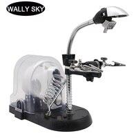 Yardımcı klip masa lambası büyüteç LED masaüstü el büyüteç ile 3 adet değiştirilebilir Lens ve lehimleme standı