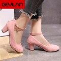 Туфли женские на высоком квадратном каблуке, простые элегантные туфли-лодочки, круглый носок, маленькая обувь для работы, черные, 6 см