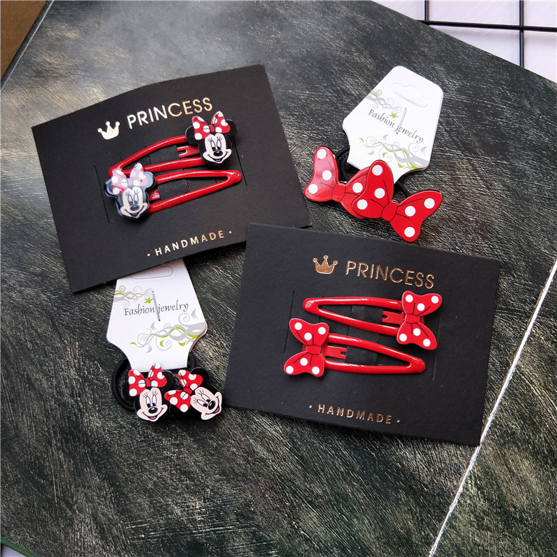 2PCS New Cute Cartoon Bowknot BB Clips Kids Hairpins Children Headwear Baby Clips Headdress Elastic Hair Bands Girls Accessories
