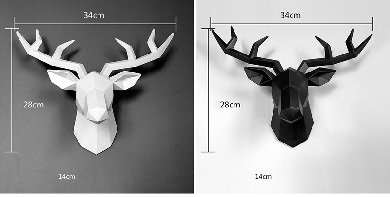 3D Deer Statue Sculpture Room Decor Home Decoration Accessories Figurine Wall Hanging Modern Decorations Animal Resin Statues (5)