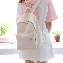 All-match White Canvas Girls Backpack Teenagers Simple Style