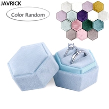 Hexagon Velvet Ring Box Double Ring Display Holder Detachable Lid(Color Random) for Proposal & Wedding & Anniversary
