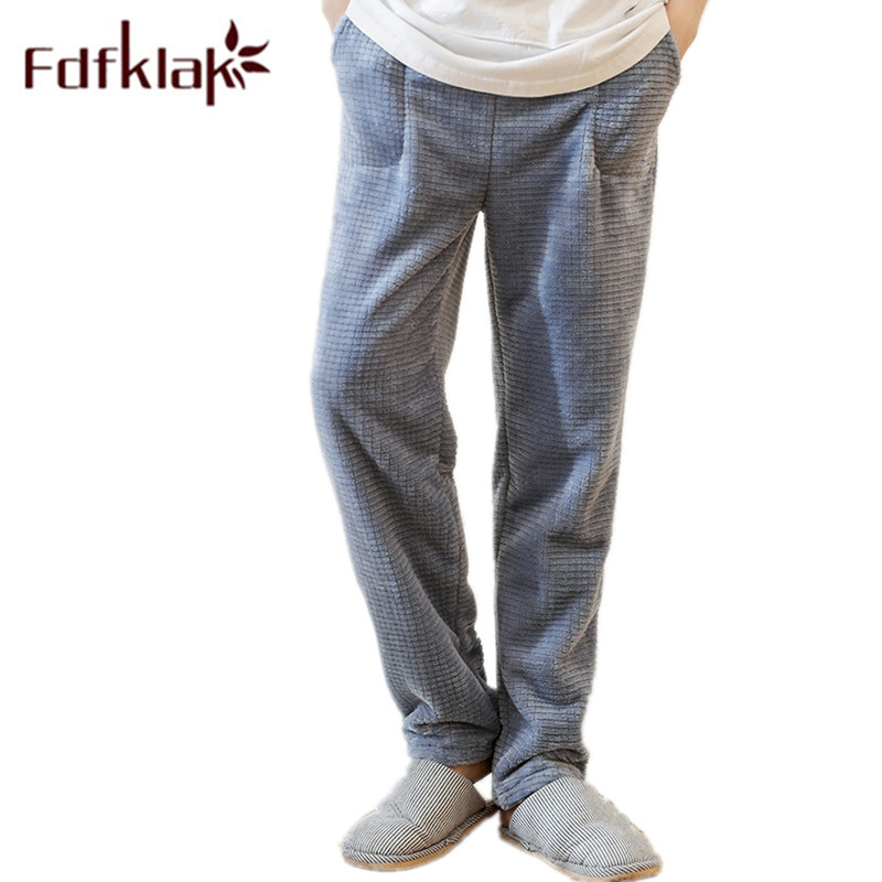 Fdfklak Flannel Bottom For Men Sleep Wear Pajama Pant Winter Thicken Gray Lounge Pants Mens Sleepwear Plus Size M-XXL