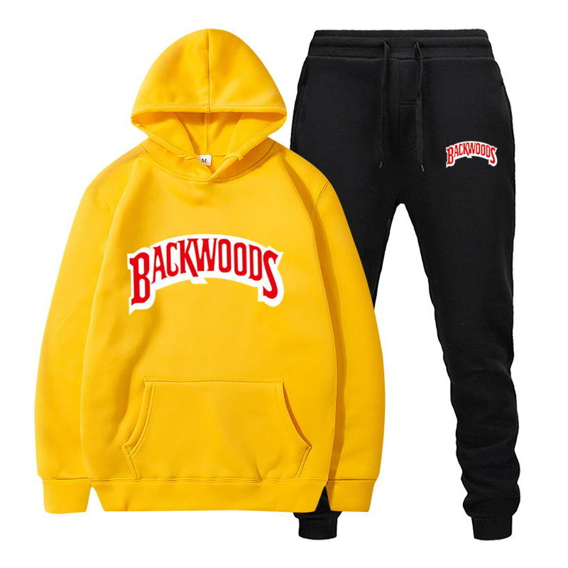 fashion brand Backwoods Men's Set Fleece Hoodie Pant Thick Warm Tracksuit Sportswear Hooded Track Suits Male Sweatsuit Tracksuit 2
