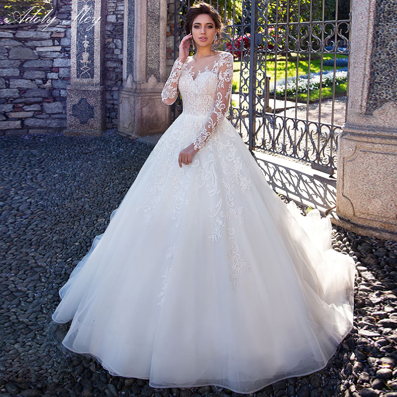 Adoly Mey Gorgeous Appliques Full Sleeve A-Line Wedding Dresses 2020 Scoop Neck Button Court Train Princess Bride Gown Plus Size