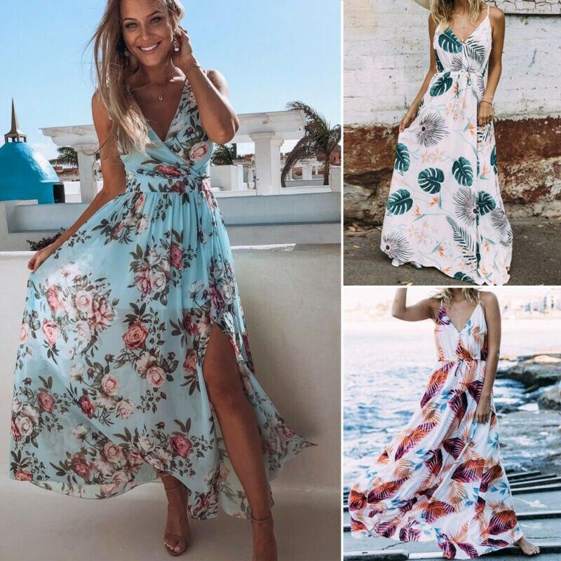 Women Boho Floral V-neck Maxi Dress Beach Holiday Party Casual Summer Sundress