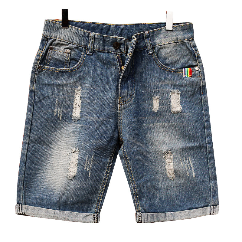 19 Summer Thin Section Trend With Holes Denim Shorts Men's Shorts Shorts Breeches Ripped Jeans Plus-sized Menswear Pants