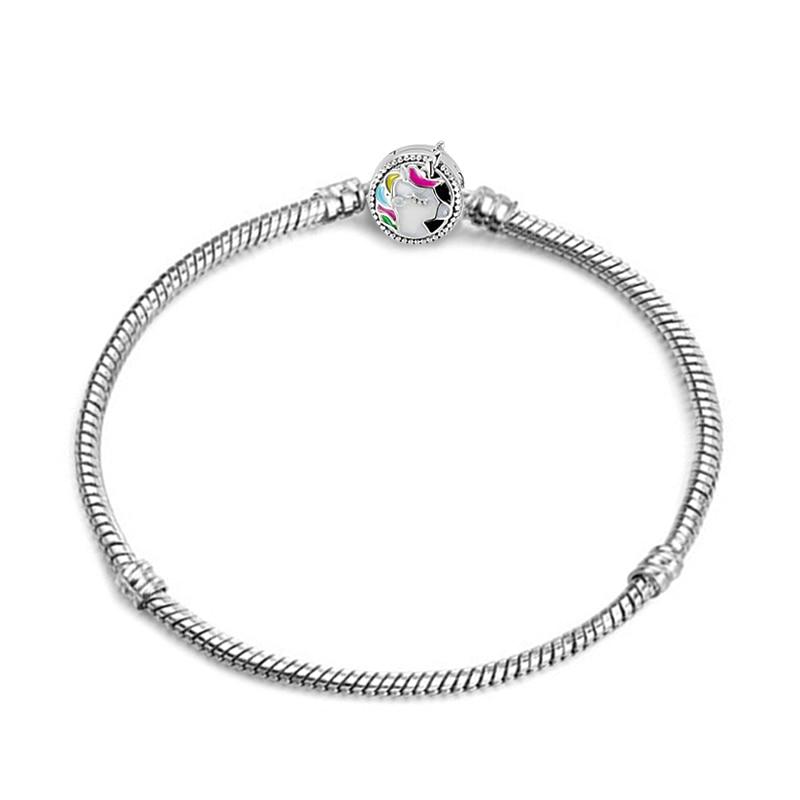 Новинка, браслет с подвеской из розового золота с Микки-Маусом, цепочка со змеей, подходит для Pan, базовые браслеты для модных женщин, бусины, сделай сам, ювелирное изделие - Окраска металла: NSL011