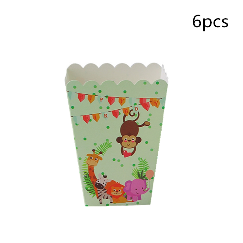 Cartoon Animal Pattern Popcorn Box Happy Birthday Party Paper Candy Box Children's Day Gifts Jungle Safari Theme Party Supplies