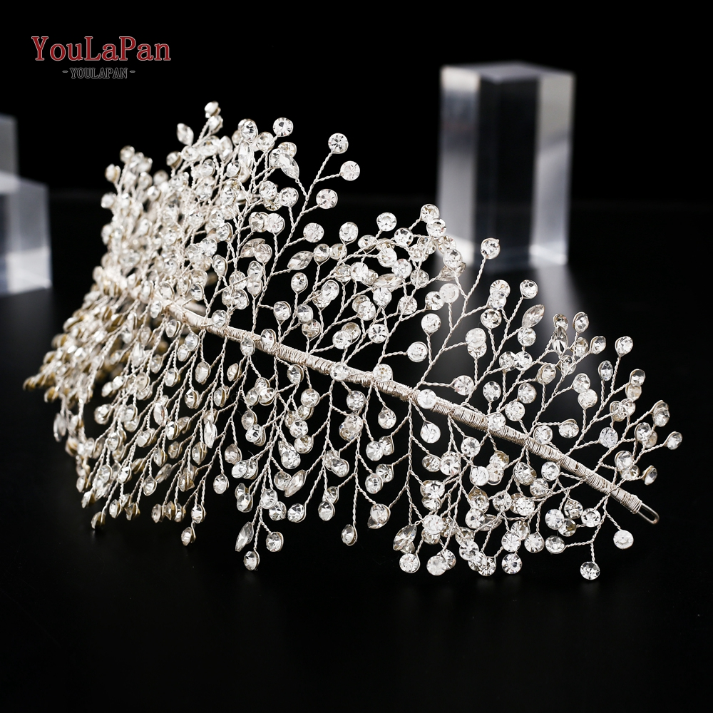 YouLaPan HP258 Silver Color Rhinestone Bridal Headpieces Luxury Crystal Wedding Tiara Wedding Headband Wedding Hair Accessories