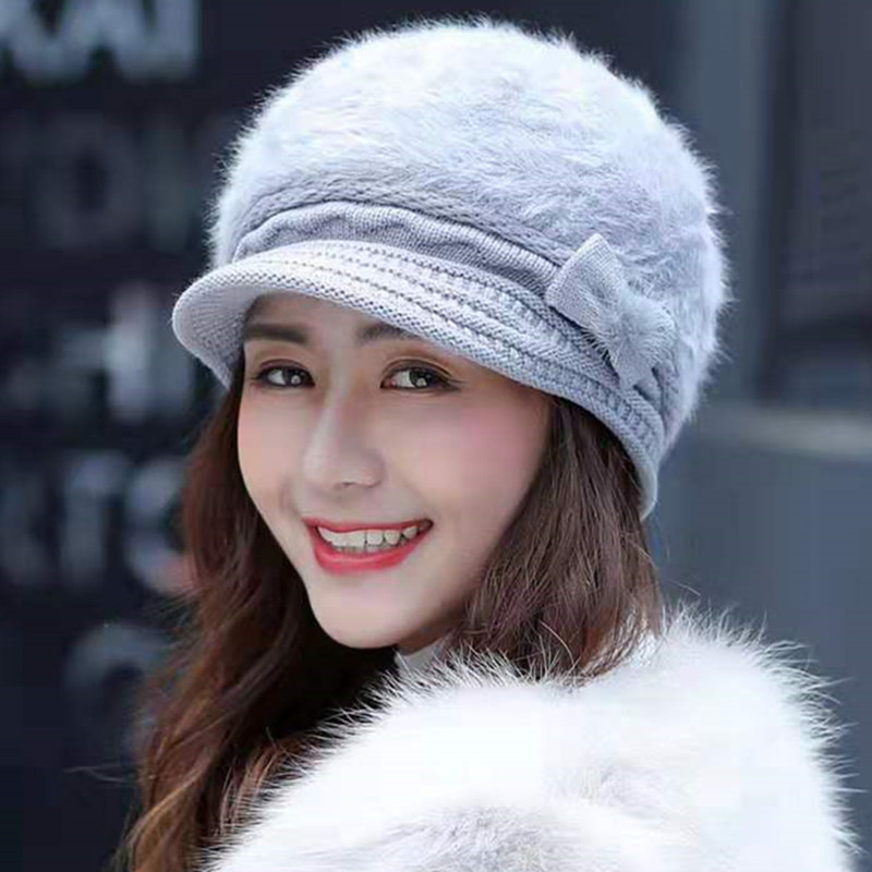 New Women's Hat Female Fashion Winter Hat Bow-Knot Design Rabbit Fur Knitted Hats For Woman Keep Warm Beanie Hat