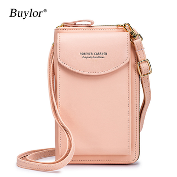 Buylor Mobile Phone Bag Women's Bag PU Handbag Pure Color Wallet Card Holders Shoulder Straps Mini Purses 1