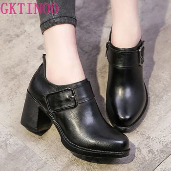 2020 spring summer new women pumps metal buckle Thin High Heels casual personality women's shoes round toe genuine leather