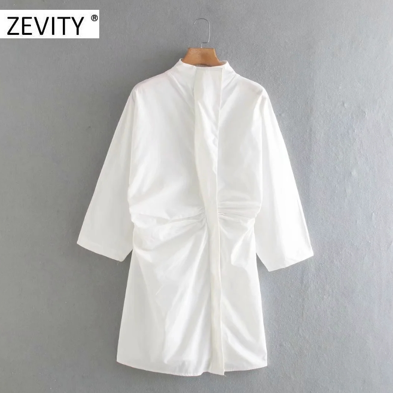 Zevity women fashion stand collar pleats slim mini dress female batwing sleeve breasted vestidos chic casual slim dresses DS4216