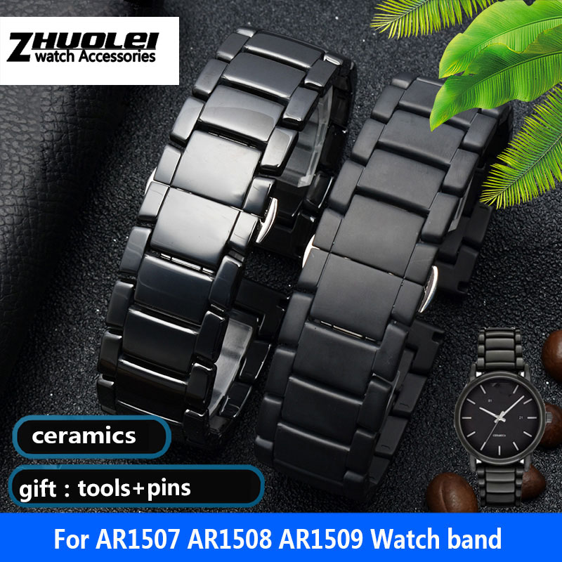 high quality Ceramic watchband for AR1507 AR1508 AR1508 Samsung Galaxy watch S3 gear 46mm watch bracelet straps 22mm|Watchbands| |  - title=