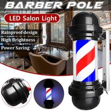 50cm LED Barber Shop Sign Pole Light Red White Blue Stripe Design Roating Salon Wall Hanging Light Lamp Beauty Salon Lamp(China)
