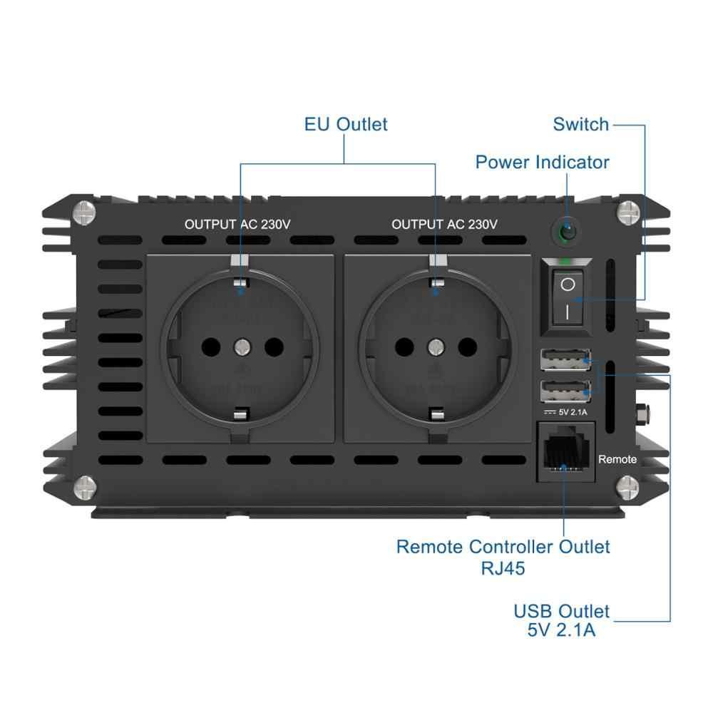 EDECOA 3500W 7000W przetwornica napięcia DC 12V AC 220V 230V 240V czysta fala sinusoidalna z 5V 2.1A USB i pilotem