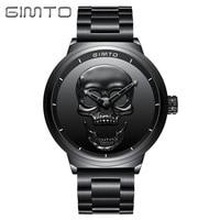 Relogio Personality Watches GIMTO Explosion Models Sleek Minimalist Skull Waterproof Men's Watches Women Quartz Wristwatches