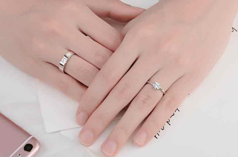 تخفيضات ساخنة أصيلة 925 Anillos الفضة الأزواج خواتم بسيطة افتتاح حلقة زوجين خاتم الزركون للنساء والرجال إكسسوار زفاف