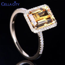 Cellacity Luxury Silver 925 Jewelry with Square Citrine gemstone zircon Rings for Women Female Anniversary party gift wholesale(China)