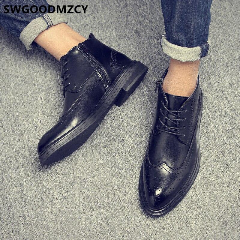 couro botas de couro dos homens botas