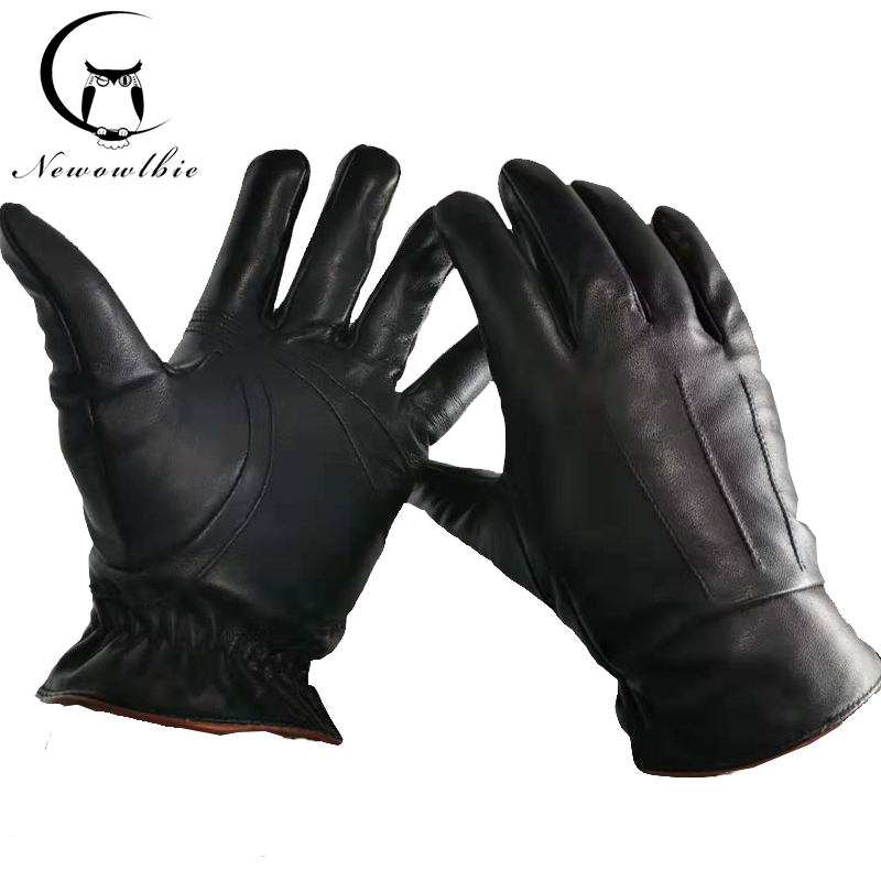 Men's Genuine Leather Gloves Real Sheepskin Black High-quality Gloves Fashion Brand Winter Warm Mittens New