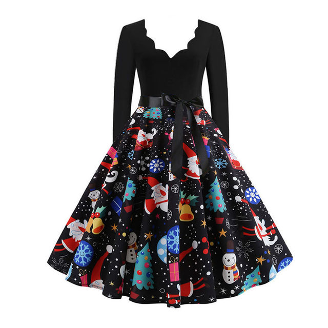 11 Color Vintage Dress Women Plus Size 3XL Sexy V-Neck Long Sleeve Christmas платье Bow Musical Note Print Flare Dress Wholesale 60